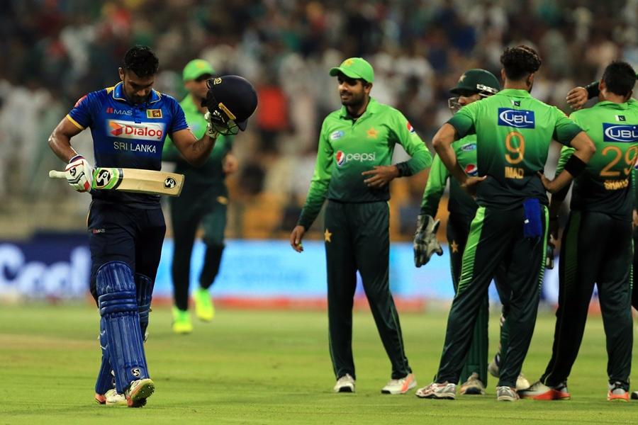 sri lanka 039 s danushka gunathilaka is dismissed during the second t20 cricket match between sri lanka and pakistan at the sheikh zayed stadium in abu dhabi on october 27 2017 photo afp