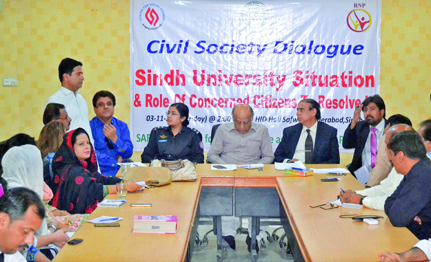 civil society arranges discussion to help resolve university of sindh s issues