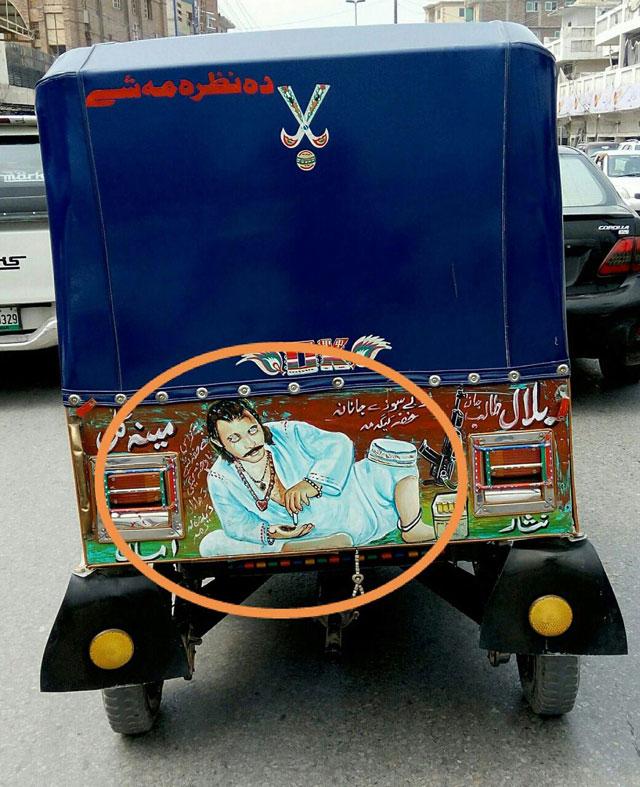 peshawar police start removing drugs guns and vulgarity from rickshaws