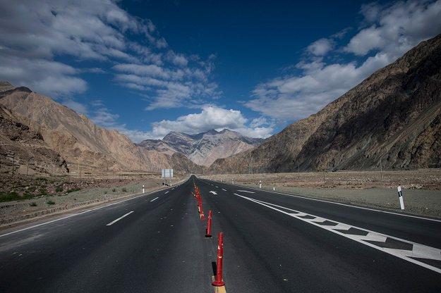 The China-Pakistan Friendship Highway before the Karakorum mountain range near Tashkurgan in China's western Xinjiang province. PHOTO: AFP