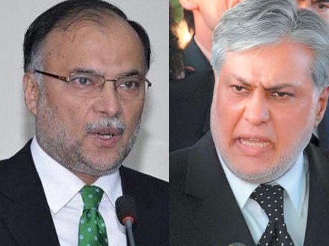 Ahsan Iqbal and Ishaq Dar. PHOTO: FILE