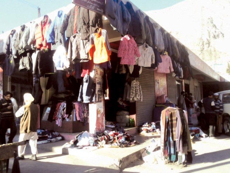 File Photo: Used winter clothes displayed at a Landa Bazaar in Swat.  PHOTO: FAZAL KHALIQ/EXPRESS