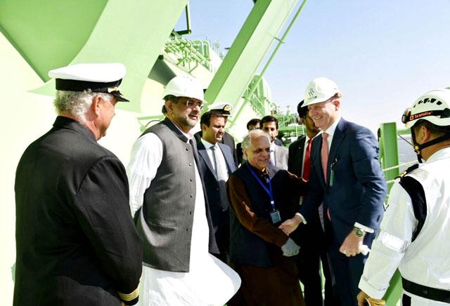 Prime Minister Shahid Khaqan Abbasi inspects Pakistan GasPort floating storage regasification unit in Karachi on Monday. PHOTO: PID