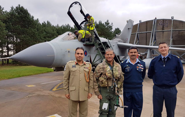 chief of the air staff air chief marshal sohail aman before flying an exercise training mission in tornado aircraft at raf marham uk photo paf
