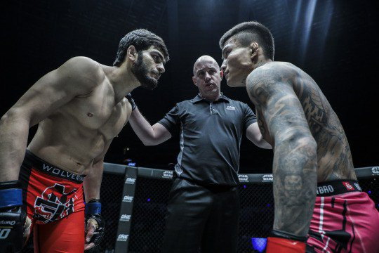 UNFORTUNATE ENDING: Mujtaba was handed a DW win after being hit by a barrage of illegal rabbit punches by his Chinese opponent Kai Wen Li. PHOTO COURTESY: ONE CHAMPIONSHIP