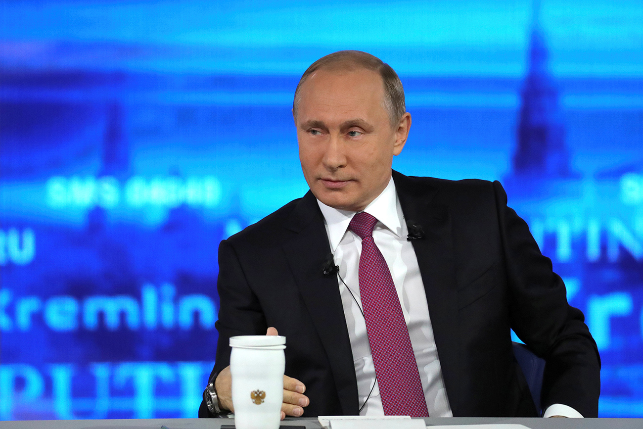 russian president vladimir putin attends a live nationwide broadcasted call in in moscow russia photo reuters