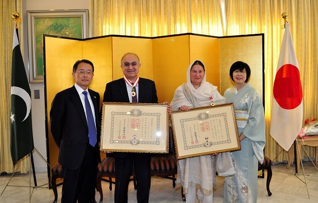 Honorary Consul General of Japan in Lahore Amir Hussain Shirazi was conferred with The Order of the Rising Sun, Gold Rays with Neck Ribbon while Pakistan-Japan Cultural Association (PJCA) President Roeeda Kabir was honoured with The Order of the Rising Sun, Gold Rays with Rosette. PHOTO COURTESY: Embassy of Japan in Pakistan