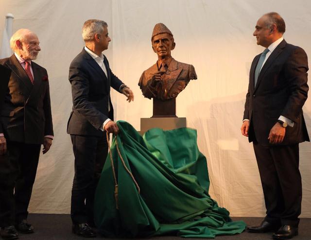 saidq khan unveils bust of quaid e azam at british museum photo twitter