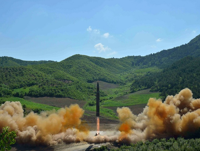 This file picture taken and released on July 4, 2017 by North Korea's official Korean Central News Agency (KCNA) shows the test-fire of the intercontinental ballistic missile Hwasong-14 at an undisclosed location. PHOTO: AFP