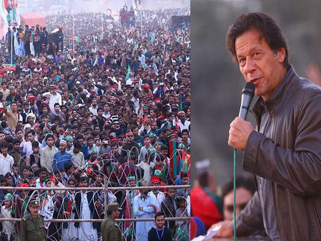 PTI chief Imran Khan addressing a public rally in Chishtian on Sunday. PHOTO: SABAH