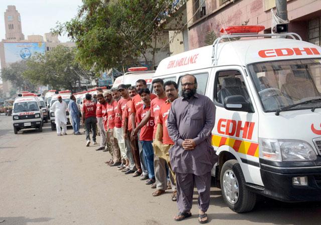 edhi foundation adds 100 ambulances to its fleet