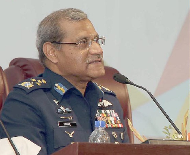 air chief marshal sohail aman addressing airtech 17 conference at air university in islamabad on thursday photo inp
