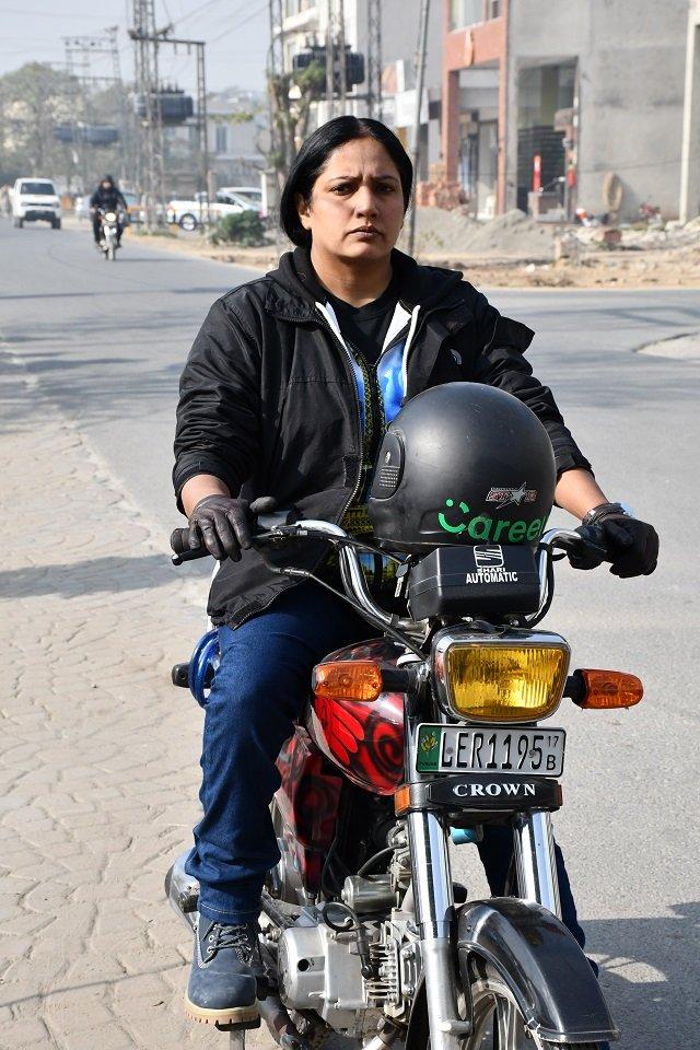 Riffat Shehraz, the first female bike captain. PHOTO: CAREEM
