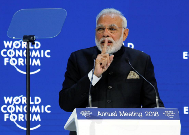 india 039 s prime minister narendra modi gestures as he speaks at the opening plenary during the world economic forum wef annual meeting in davos switzerland photo reuters