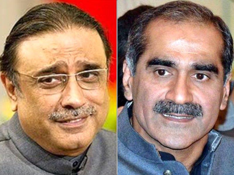 asif ali zardari and khawaja saad rafique photo file