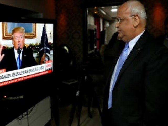 chief palestinian negotiator saeb erekat watches us president donald trump give a speech during which he recognised jerusalem as israel 039 s capital photo afp file