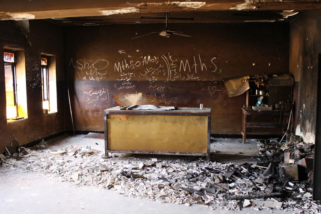 a destroyed classroom at gerver secondary school in ninewa governorate iraq much of the school was damaged when the area was occupied by militants in 2015 photo unicef