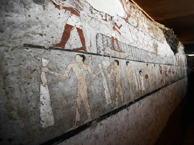 a general view shows well preserved and rare wall paintings inside the tomb of an old kingdom priestess discovered by egyptian archaeologists on the giza plateau on the southern outskirts of cairo photo afp