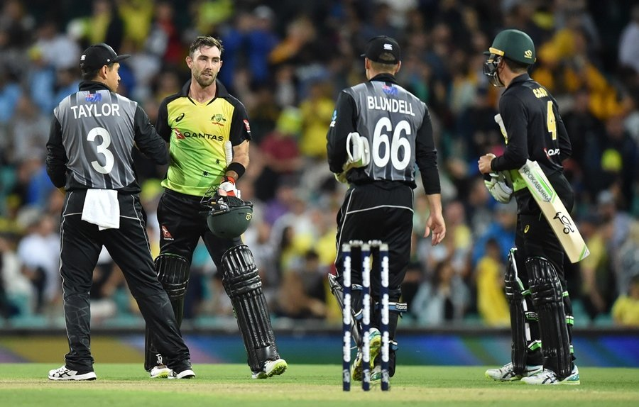 power hitting glex maxwell and chris lynn made a mockery of new zealand bowling attack with quick fire 40 s to guide australia to victory photo afp