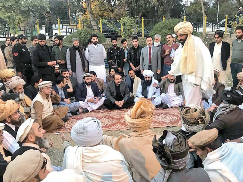 cadd minister tariq fazal chaudhry visits mehsud protest camp photo app