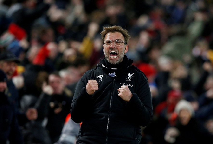 liverpool manager juergen klopp celebrates after mohamed salah scored their second goal on february 4 2018 photo reuters