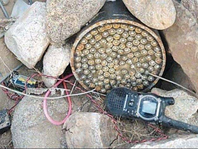 security officials say remote control device went off which was planted next to motorcycle in chitkan bazaar photo express file