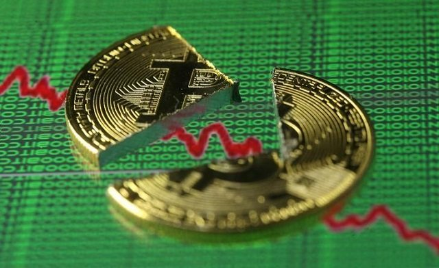 broken representation of the bitcoin virtual currency placed on a monitor that displays stock graph and binary codes are seen in this illustration picture december 21 2017 photo reuters
