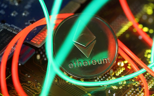representation of the ethereum virtual currency standing on the pc motherboard are seen in this illustration picture february 3 2018 photo reuters