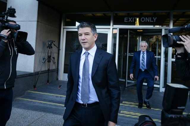 former uber ceo travis kalanick leaves the philip burton federal building after testifying on day two of the trial between waymo and uber photo afp