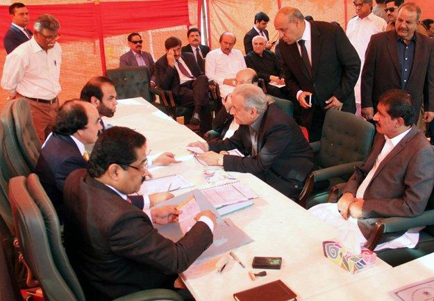 senate chairperson raza rabbani files nomination papers for senate elections photo athar khan