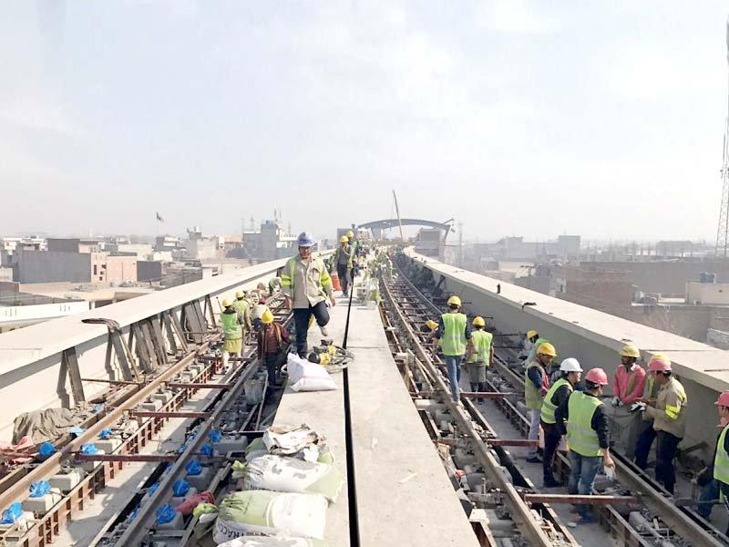 mega project contractors lay olmt s 10km rail track