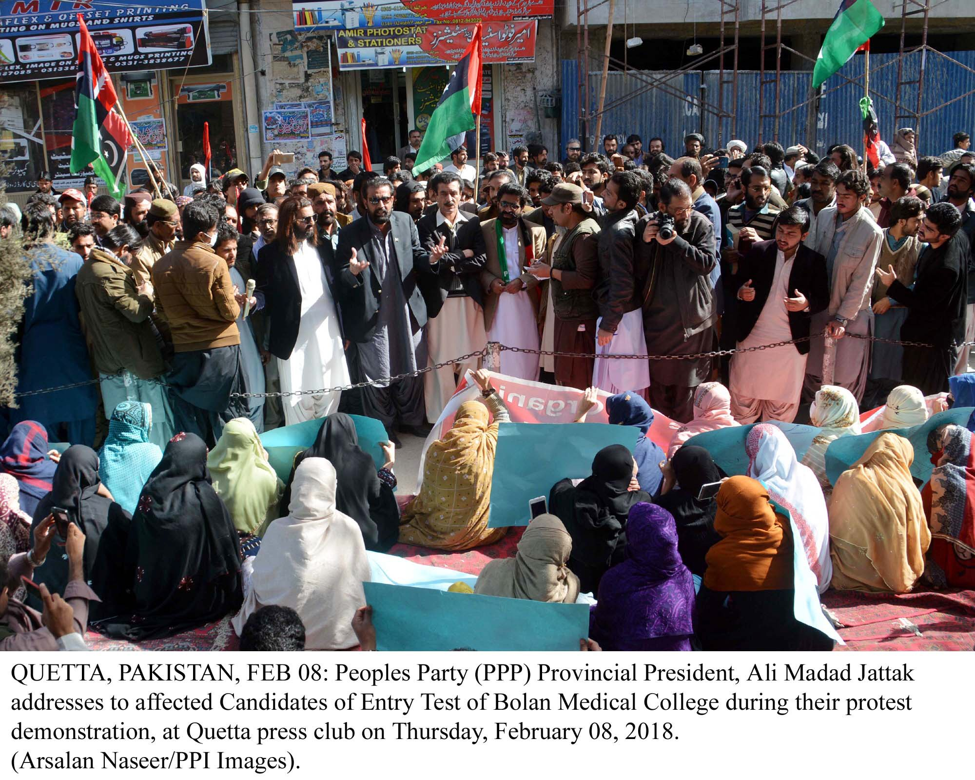 ppp provincial president ali madad jattak addresses students during their sit in protest outside the quetta press club photo ppi