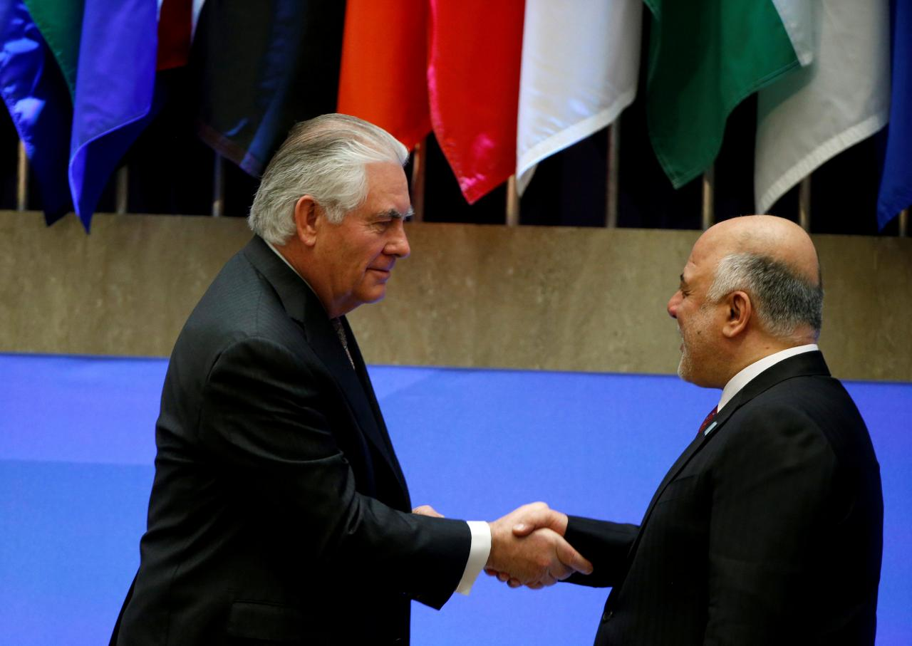 us secretary of state rex tillerson greets iraqi prime minister haider al abadi at the state department in washington dc photo reuters