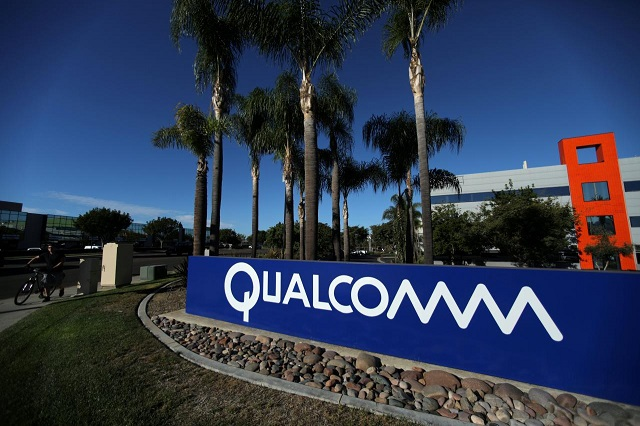 A sign on the Qualcomm campus is seen in San Diego, California, US November 6, 2017.  PHOTO: REUTERS