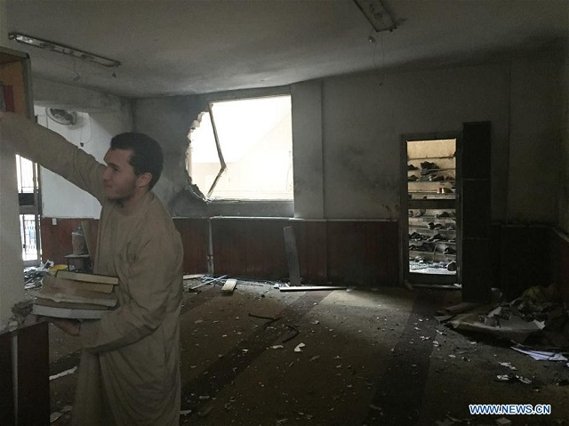 a view of the sa 039 ad bin abada mosque after an explosion in benghazi libya photo xinhua