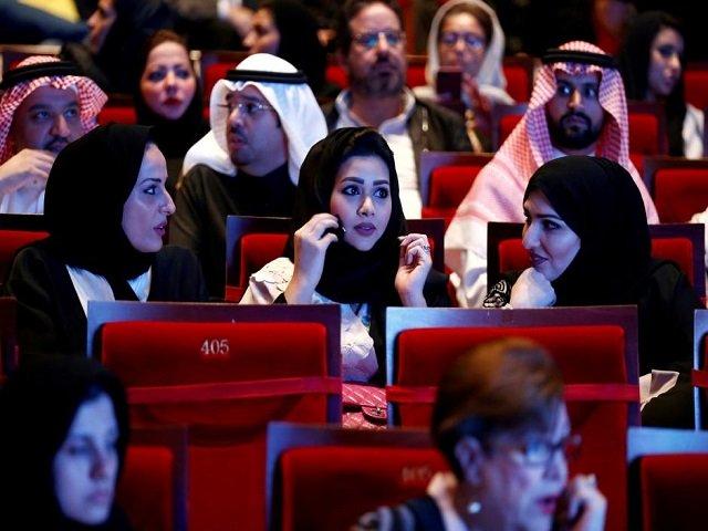 Saudis watch composer Yanni perform at Princess Nourah bint Abdulrahman University in Riyadh, Saudi Arabia, December 3, 2017. PHOTO: REUTERS