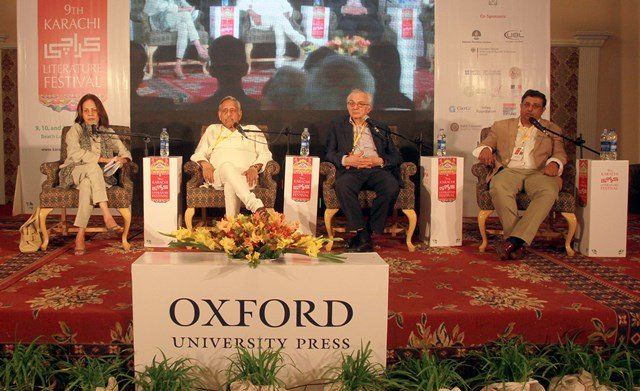 speakers of the 039 love thy neighbour india pakistan relations 039 session at the karachi literature festival photo athar khan express