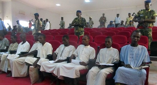picture shows suspected members of boko haram sitting in court in n 039 djamena chad photo afp