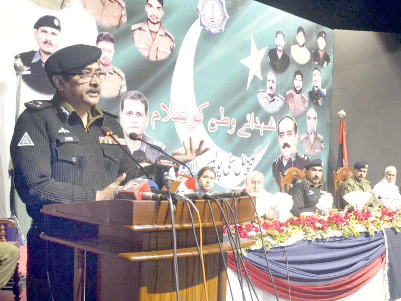 inspector general of police arif nawaz khan addresses the police martyrs day youm e shuhada ceremony photo online
