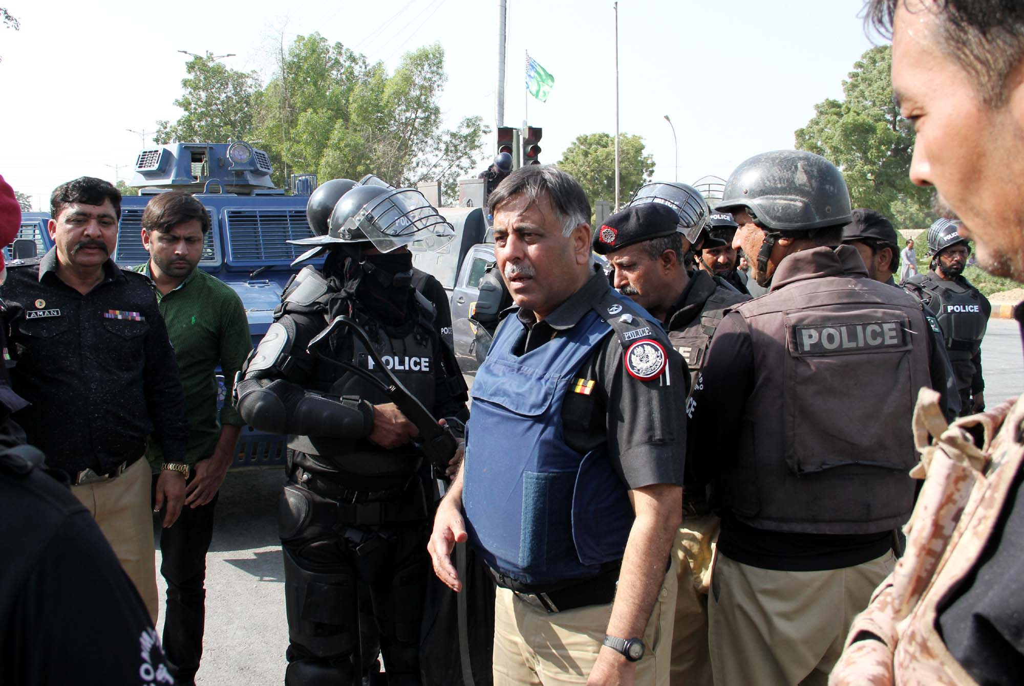 ssp rao anwar was at the forefront during the clash between police and protesters at star gate on saturday photo athar khan express