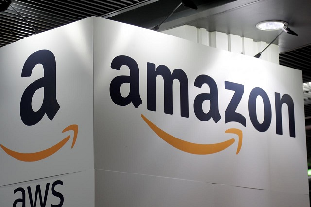 the amazon logo is seen at the young entrepreneurs fair in paris france february 7 2018 photo reuters