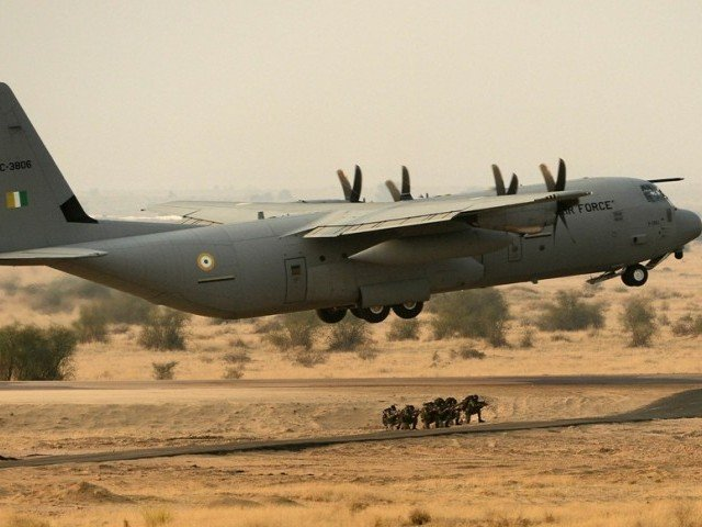 an indian air force c 130j super hercules aircraft takes off during the iron fist 2013 exercise in pokhran photo afp