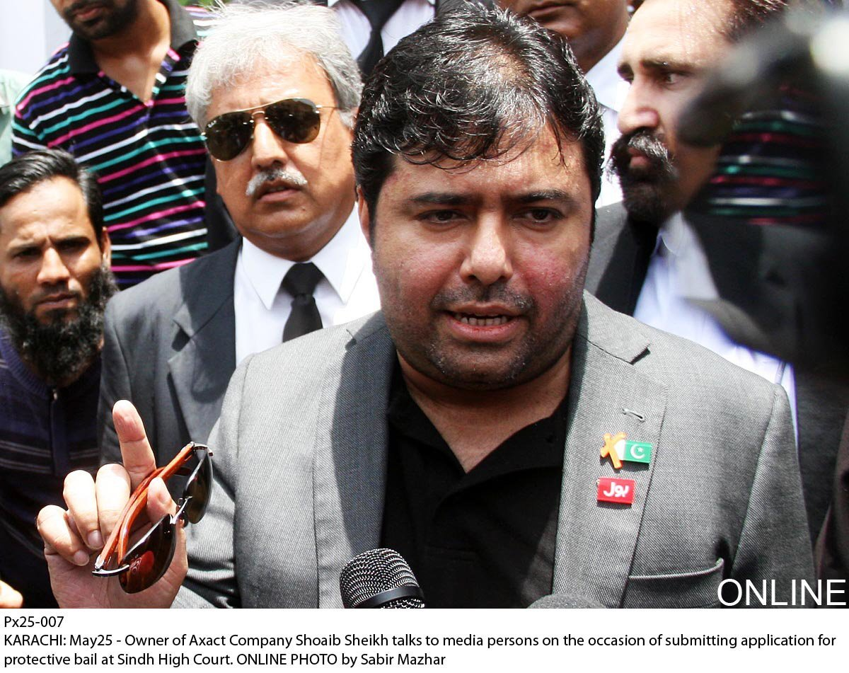 axact ceo shoaib ahmed sheikh talks to media outside the sindh high court on monday may 25 2016 photo online