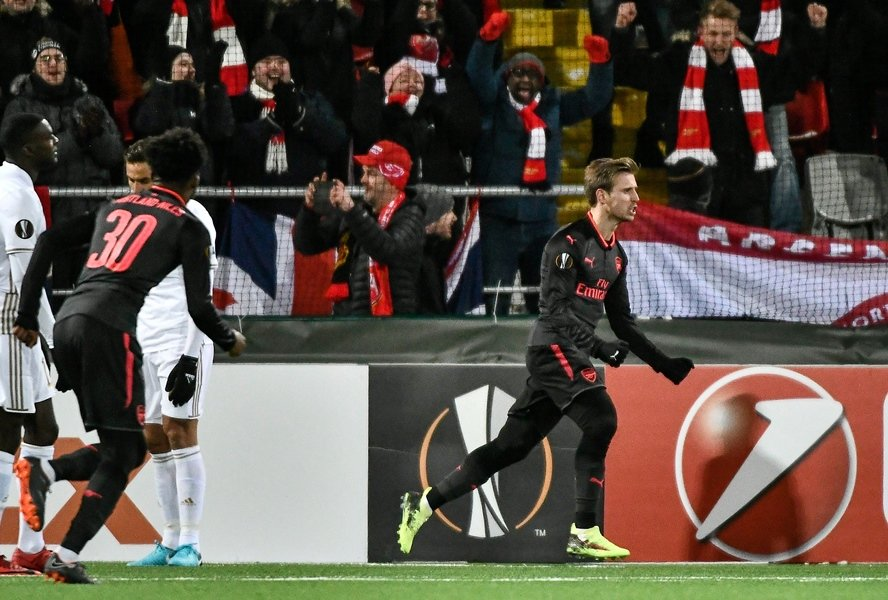 arsenal 039 s nacho monreal r celebrates after scoring the 0 1 during the uefa europa league round of 32 first leg football match of ostersund fk vs arsenal fc on february 15 2018 in ostersund sweden photo afp