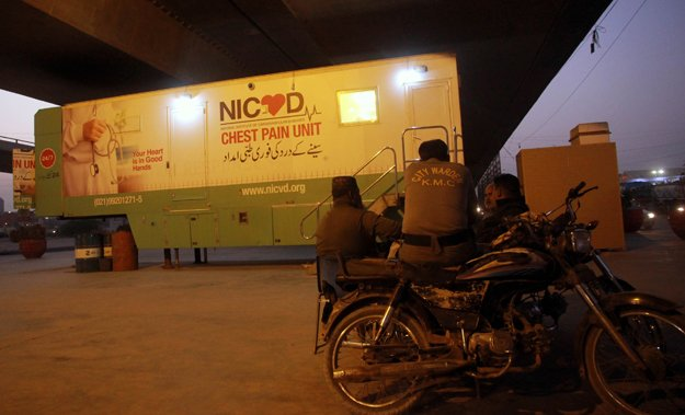 a view of the mobile unit of nicvd under kpt flyover photo athar khan