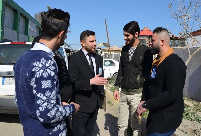 a graduate of an anti militant ideology course organised by the muslim scholars forum of mosul speaks to new volunteer recruits after his ceremony in the northern iraqi city on february 8 2018 iraqi volunteers aged from 25 to 45 heralding from all sectors of society in mosul iraq 039 s second city and the former islamic state group 039 s capital including mechanics teachers and a sheikh signed up for a week long course run by muslim scholars forum of mosul on how to combat islamic state militant ideology photo afp