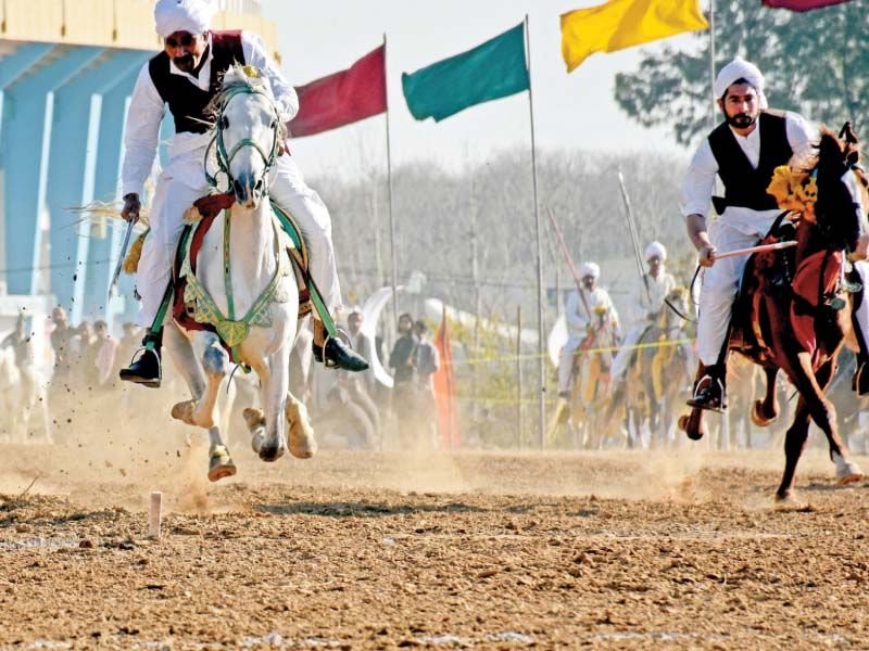 a participant holds aloft his peg at the annual tent pegging festival