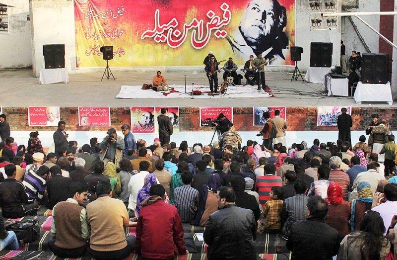 musical band performing at the faiz aman mela photo file