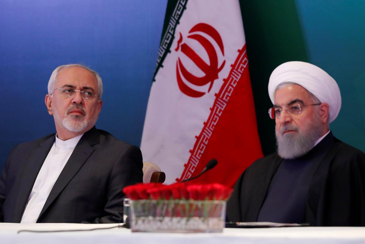 iranian president hassan rouhani and foreign minister mohammad javad zarif attend a meeting with muslim leaders and scholars in hyderabad india photo reuters