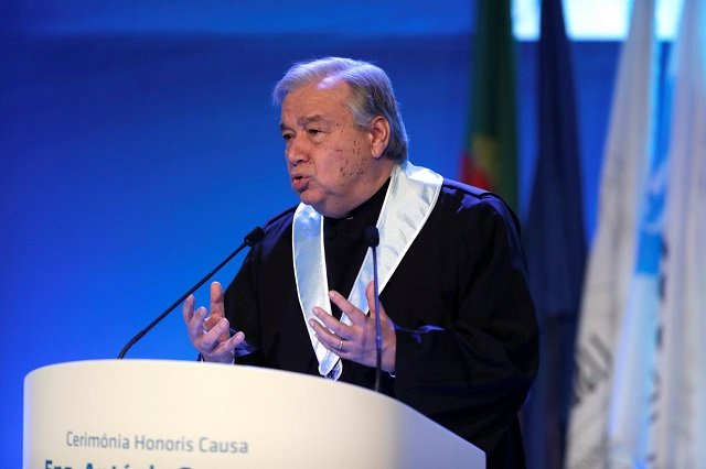 un secretary general antonio guterres gives a speech during a ceremony at lisbon university where guterres received his honoris causa degree portugal february 19 2018 photo reuters